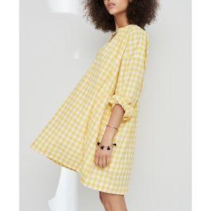 MADEWELL Willow Gingham Yellow Tunic Dress